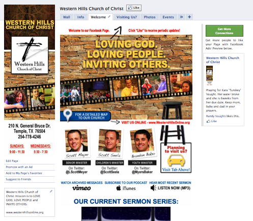 Custom Facebook Page - Landing Tab for Western Hills Church of Christ