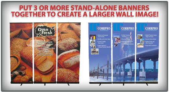 Pul multiple retractable banners together to create one large image!
